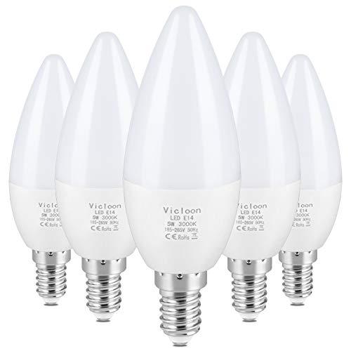 Vicloon Lampadine LED Candela, 5Pcs LED E14 Lampadine a Candela, 5W Equivalenti a 40W Lampadina a Incandescenza, 50W Lampadina Alogena, Luce Bianca Calda 3000K, 500LM, CRI85+, C37, Non Dimmerabile
