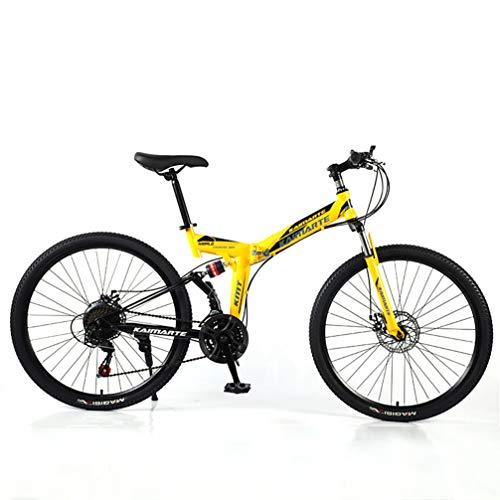 YUKM 40 radios 5-Color de 26 Pulgadas Plegable de montaña a Campo Bicicletas, Bicicletas para Principiantes Práctica, 3 configuración de Velocidad, Frenos de Doble Disco,Amarillo,26 Inch 27 Speed