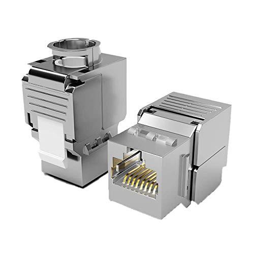 2X Keystone Modul CAT 6a Jack STP RJ45 Buchse geschirmt/Werkzeuglos Dank Snap-In Montage 500Mhz 10 Gigabit Ethernet // Metall Gehäuse Einbaubuchse für Verlegekabel Patchpanel Patchfeld