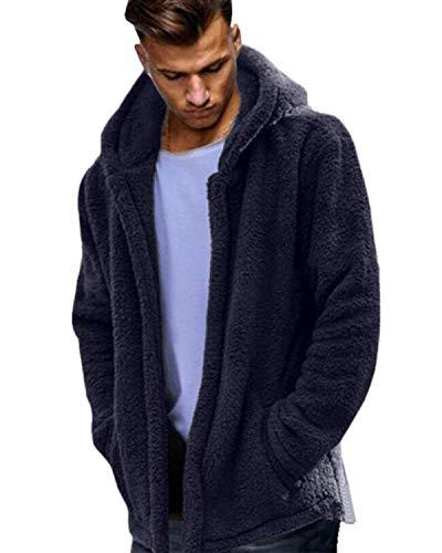 MODCHOK Herren Teddy-Fleece Jacke mit Taschen Warm Plüsch Mantel Hoodie Kapuzenpollover Sweatshirt Outwear 1-Blau 2XL