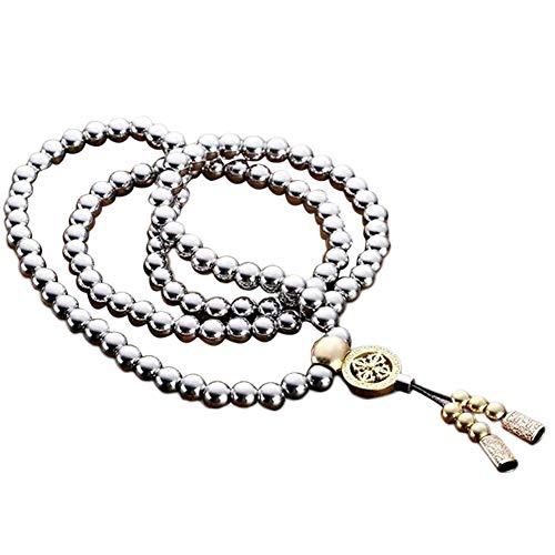 Collar de Buda, Armas de autodefensa, Acero Inoxidable, Cuentas de oración budistas, 108 Cuentas de Buda, Collar de Acero de Titanio