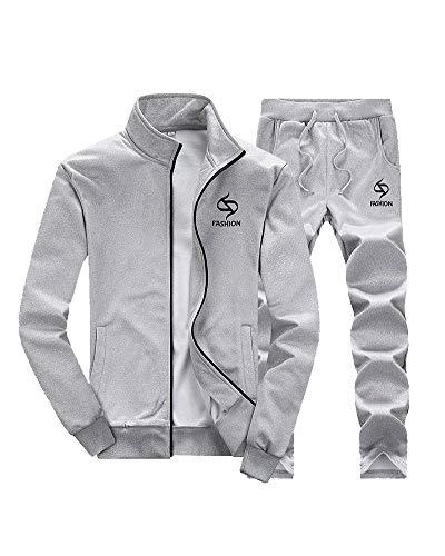 Homme Loisir Survêtement Ensemble Pantalon De Sport + Jogging Sweat-Shirt Veste Col Montant Manches Longues Gris M