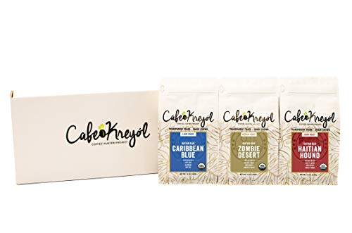 Cafe Kreyol, Coffee, Variety Pack, Pack of 3 (Caribbean Blue, Zombie Desert, Haitian Hound) | Roasted Whole Beans
