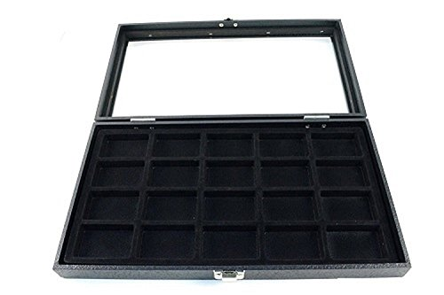 New Glass Top 20 Zippo Lighter Black Collectors Display Case -  USABESTSUPPLY