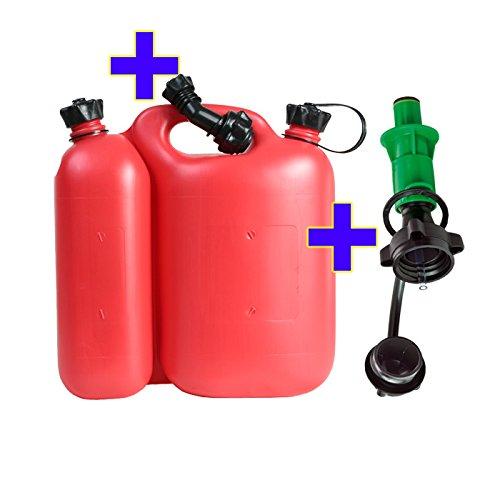 Doppelkanister rot 5,5+3L PLUS Sicherheitseinfüllsystem grün & Ausgiesser Kombikanister