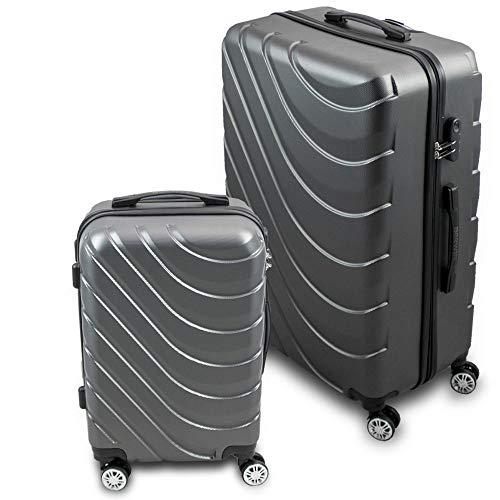 BERWIN Kofferset M + XL 2-teilig Reisekoffer Trolley Hartschalenkoffer ABS Teleskopgriff Modell Wave 2018 (Grau)