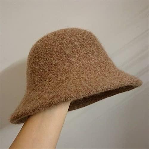 ニット帽子レディース 2021冬の暖かい冬の女性のバケツの帽子のための冬の女性のバケツの帽子は女の子の冬のファッション黒のヒップホップ帽子の帽子のためのウールの帽子を感じました (Color : Brawn, Size : 54-58cm)