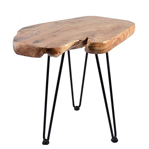 Hurricom Natural Edge Side Table, Live Edge End Table with 3 Hairpin Legs, Nightstand Plant Stand for Bedroom and Living Room, 20 inch Tall