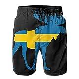 DCVFB Shorts de Tabla de Surf de Playa de Verano de Alces con Bandera Sueca para Hombres, bañador de Secado rápido, Pantalones Cortos para Dormir Sueltos Ocasionales