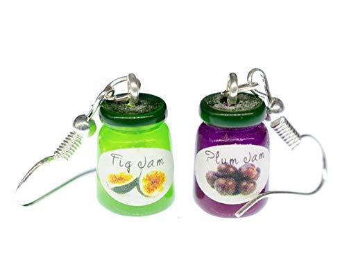 Miniblings Marmeladenglas Ohrringe Hänger Frühstück Marmelade Glas bunt - Handmade Modeschmuck I Ohrhänger Ohrschmuck versilbert