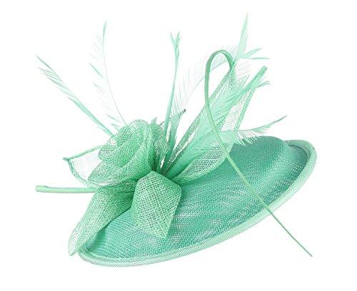 EOZY Mujer Tocado de Pelo Sombrero Vintage con Flor Pluma Verde