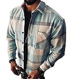 Onsoyours Camisa Hombre Manga Larga Camisa Cuadros Hombre Regular Fit Camisa de Hombre de Algodón Casual Shirt A Azul M