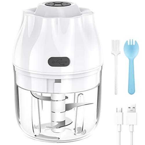VASG Elektrisch Zerkleinerer Küche, 250ml Mini Multizerkleinerer Küchenmaschine Mixer Knoblauchhacker Gemüsezerkleinerer mit 3 Scharfen Klingen Mühle für Fleisch, Gemüse, Babynahrung (Weiß)