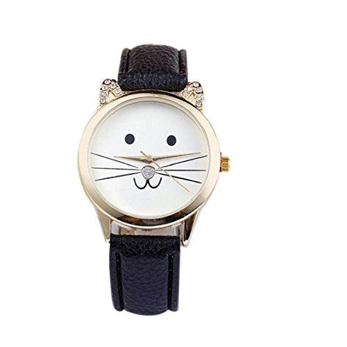Sannysis Diamante di modo Lovely Cats Viso Ecopelle orologio al quarzo (Nero)