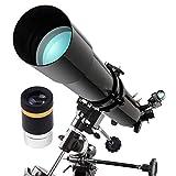 WUAZ Telescopio 80EQ - Telescopio Ecuatorial Manual para Principiantes - Compacto y portátil - 80 mm Apertura