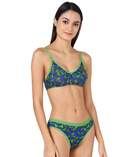 PIBU - Women Cotton Bra Panty Set Honeymoon Full Coverage Non Padded Hot and Sexy Looking Lingerie Set (Pack of 1) (Color : Green)