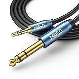 MillSO 3,5mm auf 6,35mm Aux Audio Kabel 6.35 Stecker zu 3.5 TRS Stecker Stereo Auxiliary Klinke Instrumentenkabel für Bassverstärker, Gitarre, Klavier, Kopfhörer, Lautsprecher und HiFi Anlage - 2.4M