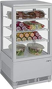 Gastro Spirit – Mini vitrine à chaleur tournante Blanc/Vitrine à gâteau/boîtier en plastique/70 L Partie de refroidissement/3 grilles réglables en hauteur/4 côtés double vitrage/43 cm de largeur