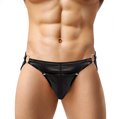 iEFiEL Wetlook Herren Strings Ouvert-Slip Unterhose Männer Thong Jockstrap Underwear Dessous Unterwäsche Bikinislip M-XL Schwarz Large