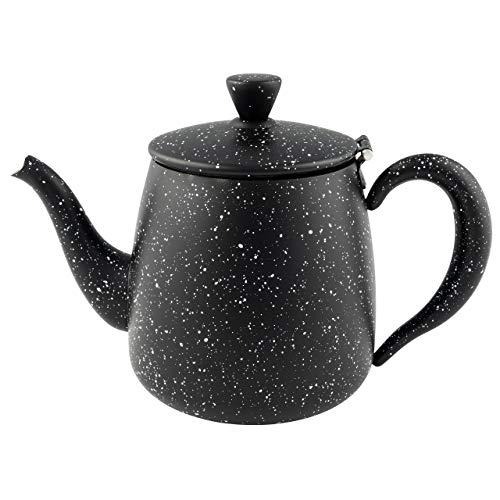 Café Olé PT-048BG Erstklassige Premium 48oz 1.35L Teekanne aus hochwertigem Edelstahl – Schwarz Granit, Tropffreies Ausgieβen, Hohle Griffen & Klappdeckel, 1.35 liters