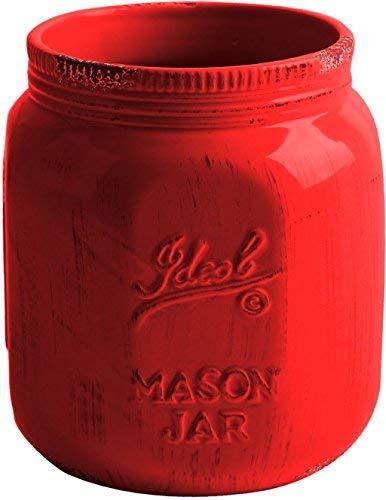 Palais Essentials Utensilienhalter aus Keramik Mason Jar Rot 17,8 cm hoch