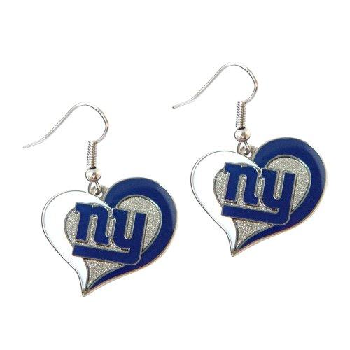 aminco NFL New York Giants Swirl Heart Earrings, team color, one size (NFL-ER-245-23)