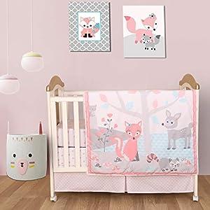 Cuddles & Cribs 4 Pcs Baby Crib Bedding Sets – 100% Cotton Crib Sheets, 100% Polyester Reversible Comforter and Crib Skirt – Fox