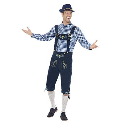 Dihope heren overhemd geruit broek slabbroek hoed cosplay kostuum traditioneel Duits kostuum gothic maskerade kleding Halloween 3-delig