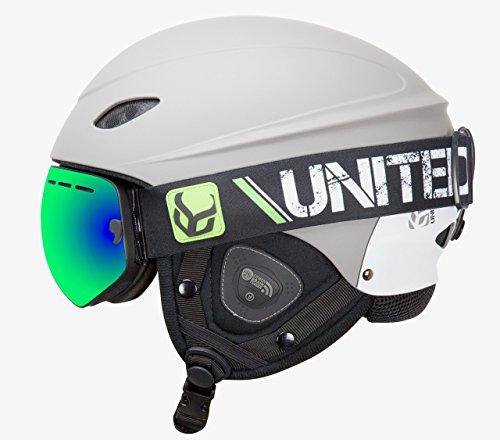 DEMON UNITED Phantom Helmet with Audio and Snow Supra Goggle (Grey, Medium)