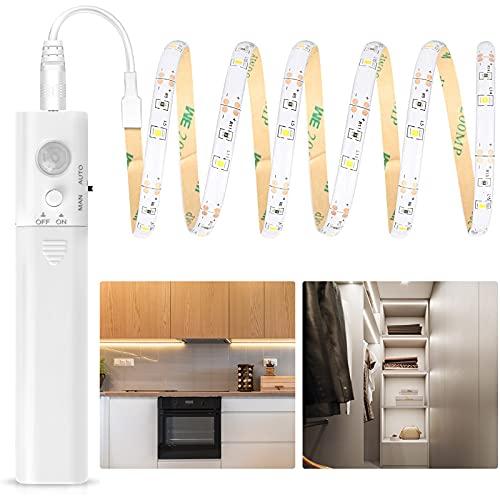 Aigostar - Tira Luz Cuerda de 1m con Sensor de Movimiento, Tira de Luces LED 3000K Blanca Cálida, IP65 Impermeable, Luz LED Nocturna Funcionamiento con Pilas, Tira LED Autoadhesiva. Luz Armario.