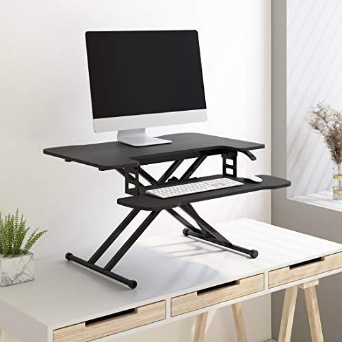SANODESK M18M Sit Stand Desk Standing Desk Converter Height Adjustable Desk 78 x 48 cm Desk Attachment Double Monitor Riser Computer Desk