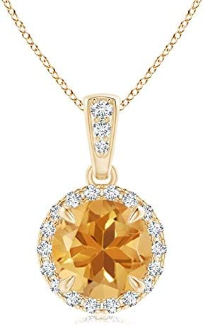 November Birthstone - Claw-Set Max Outstanding 68% OFF Round Diamon Citrine with Pendant