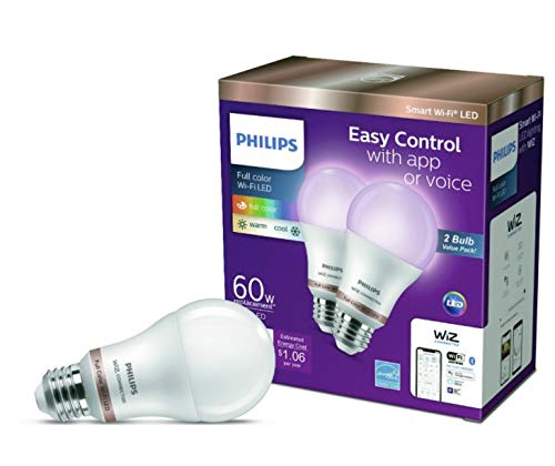 Philips Wiz connected 2-Pack bundle A19 LED Wi-Fi Smart Bulb...