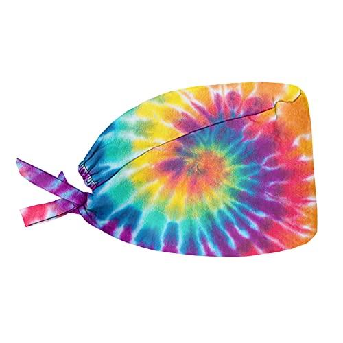 Renewold Gorras de tie-dye integradas, correa ajustable, para la espalda, gorros para mujeres, hombres, adolescentes, talla única, gorro transpirable con nudo