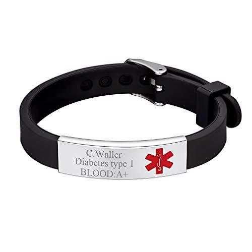 Custom4U gegraveerde armband voor mannen medische waarschuwing armband
