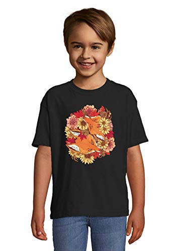 Iprints Foxes and Flowers Art Graphic Noir Colorful Kids T-Shirt 84-94cm (2year)