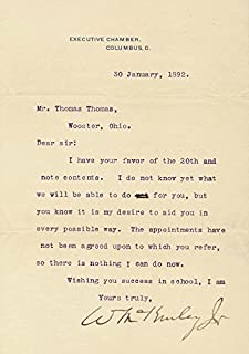 President William Mckinley - Typed Letter Signed 01/30/1892