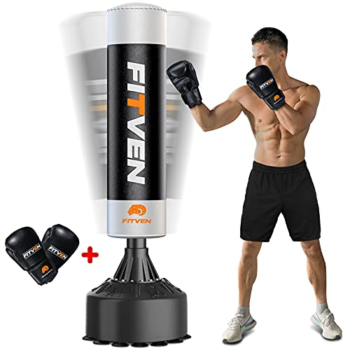 FITVEN Freestanding Punching Bag with Boxing Gloves 71''-210lbs Heavy Boxing Bag with Conical Rubber...