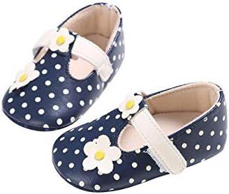 DEBAIJIA Bebé Niña Zapato de Fiesta Princesa con Cinta Mágica para 6-18 Meses Niños Recién Nacido Primeros Pasos Zapatos de Cuero Moda Casual Antideslizante Suave Suela Patrón de Punto Flor