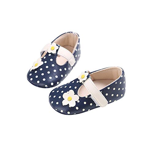 DEBAIJIA Baby Mädchen Prinzessin Schuhe Kleinkind Schöne Frühling Blume Spot Muster Weiche Sohle rutschfeste Kunstleder Geeignet für 6-18 Monate Klettverschluss Blau 20 EU (Etikettengröße 3)