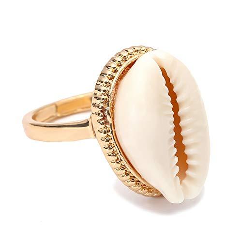 D.B .MOOD Conch Muschel-Ring Natürlicher Strand Kauri-Muschel Modeschmuck Ringe für Frauen Mädchen 0210-Gold