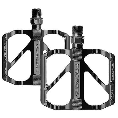 unisoul Pedali Bicicletta,Pedali Bici Flat MTB 9/16', Leggeri Antiscivolo Universali Pedali Bicicletta per BMX, MTB, Road Bicycl, Mountain Bike Pedale (Nero)