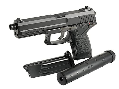 Pistola Airsoft GNB Gas no blowback MK23 Socom STTI ST23 Negra balines 6 mm Potencia 1 Julio réplica Escala 1:1. Incluye silenciador Dummy