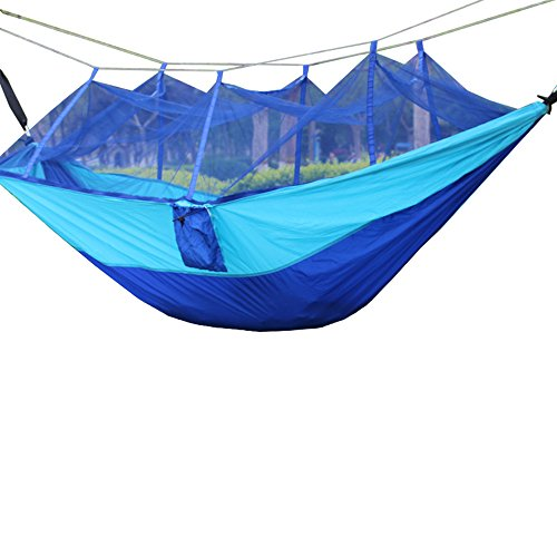 MMWYC Camping Hammock With Mosquito Net, Outdoor Hammock Travel Parachute Cloth Portable With Mosquito Net Camping Hammock Green 260X140(78.7X55.1in) (Color : C)
