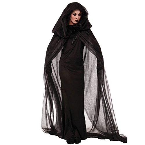 LATH.PIN [Sorcière Anime Costume Halloween Deguisement] Sorcière Robe Noir Anime Costume Fantaisie Deguisement Costume pour Noël Halloween Party (Noir, M)