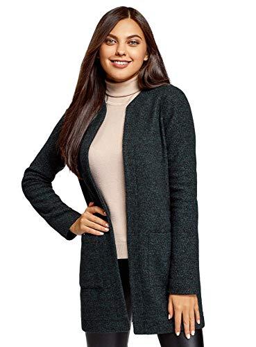 oodji Ultra Damen Cardigan aus Strukturiertem Stoff mit Seitentaschen, Schwarz, M