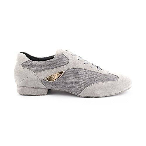 PortDance Damen Tanzschuhe/Dance Sneakers PD07 - Denim/Velourleder Grau - 1,5 cm Blockabsatz - Rauledersohle [EUR 39]