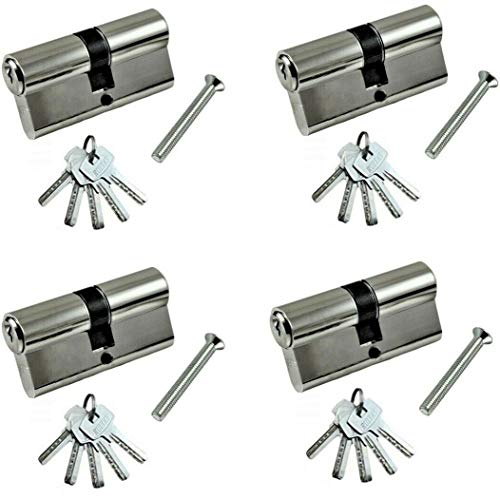 Beste Angebote 4er- Set Zylinderschloss Profilzylinder 60/70 mm Türzylinder Türschloss (70mm (35x35) + 5 x Schlüssel, Set: 4 Stück)
