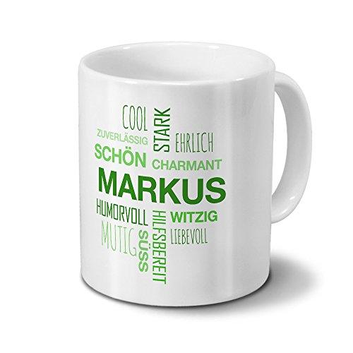 printplanet Tasse mit Namen Markus Positive Eigenschaften Tagcloud - Grün - Namenstasse, Kaffeebecher, Mug, Becher, Kaffeetasse