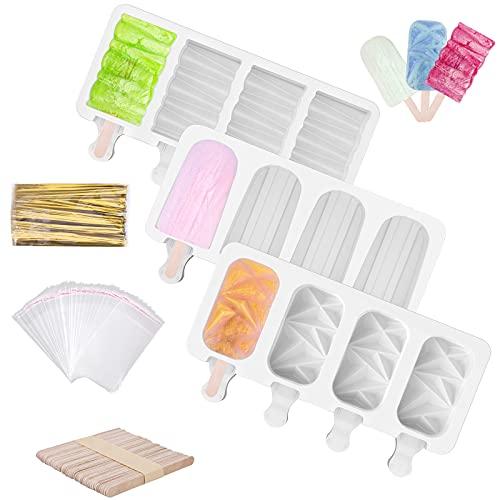 Moldes para Helados 3pcs de Hielo Silicona de Moldes para Polos de Hielo Sin BPA Reutilizable Moldes de Paletas de Hielo Equipado con Palos de Madera, Bolsas de Embalaje y Líneas de Embalaje